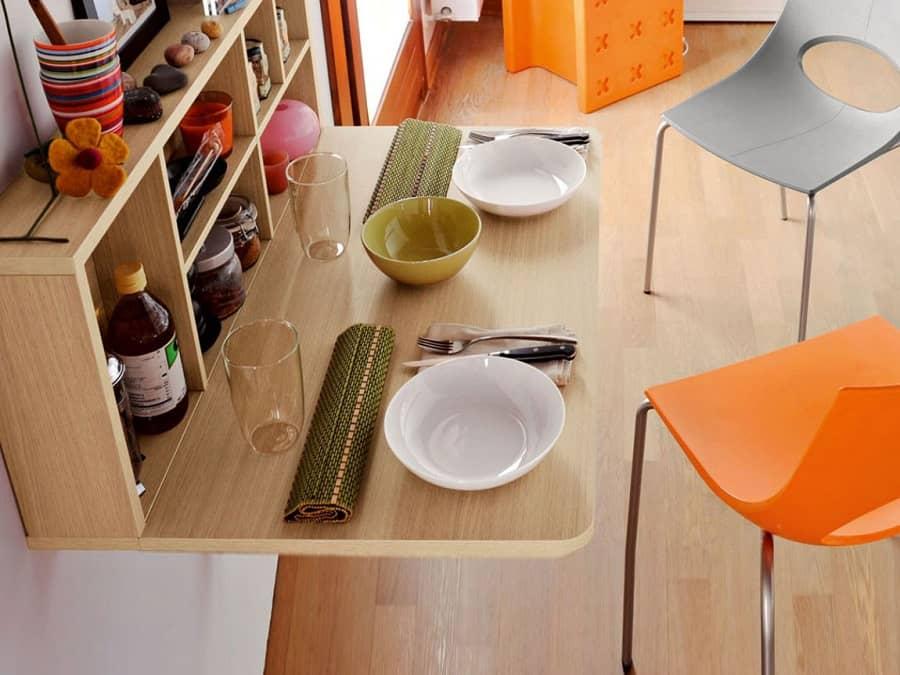 Küçük Mutfaklar İçin Duvara Monte Masalar