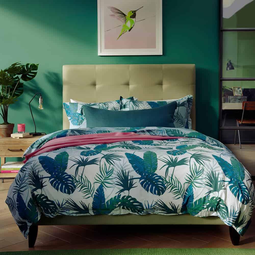 Tropikal Yeşil Yatak Odası