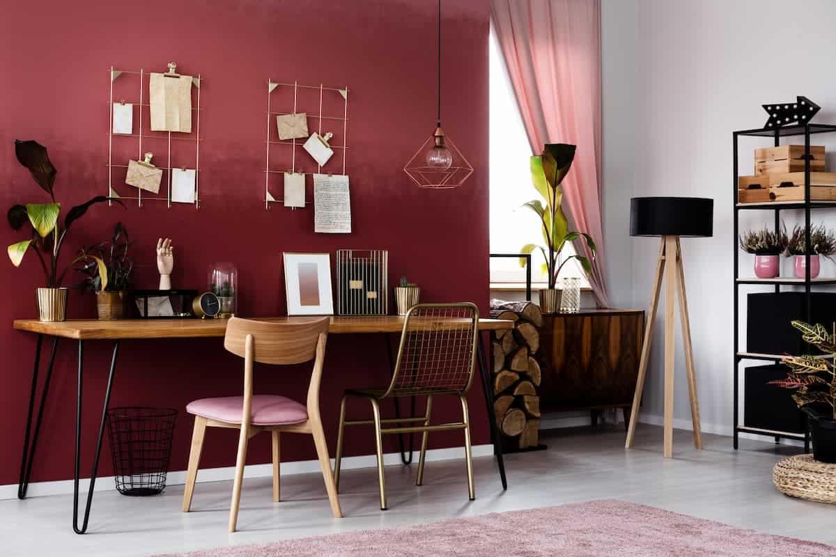 Kırmızı Renkli Home Ofis